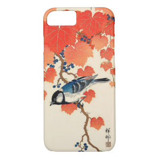 Vintage Japanese Jay Bird and Autumn Grapevine iPhone 8/7 Case