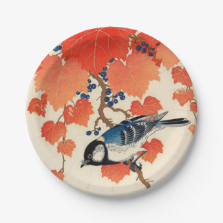 Vintage Japanese Jay Bird and Autumn Grapevine Paper Plate