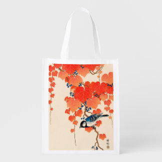 Vintage Japanese Jay Bird and Autumn Grapevine Reusable Grocery Bag