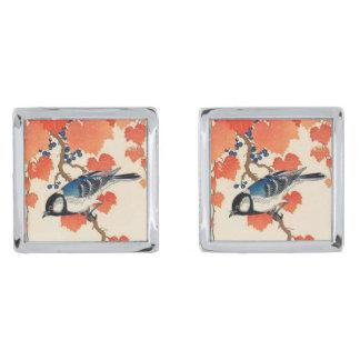 Vintage Japanese Jay Bird and Autumn Grapevine Silver Finish Cufflinks