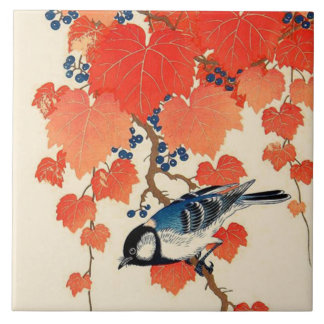 Vintage Japanese Jay Bird and Autumn Grapevine Tile