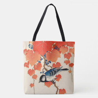 Vintage Japanese Jay Bird and Autumn Grapevine Tote Bag