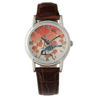Vintage Japanese Jay Bird and Autumn Grapevine Watch