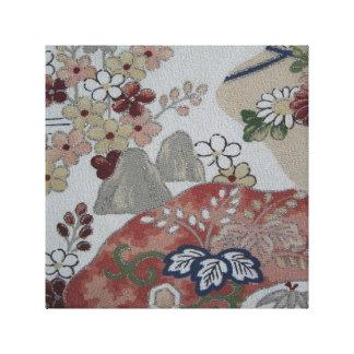Vintage Japanese Kimono Floral Stretched Canvas Print