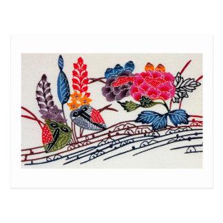 Vintage Japanese KIMONO Floral Pattern Postcard