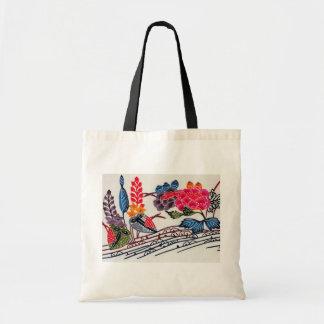 Vintage Japanese KIMONO Floral Pattern Tote Bag