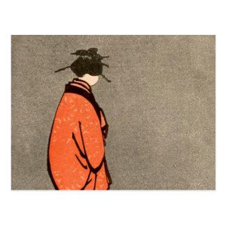 Vintage Japanese Kimono Woman Orange Looking Away Postcard
