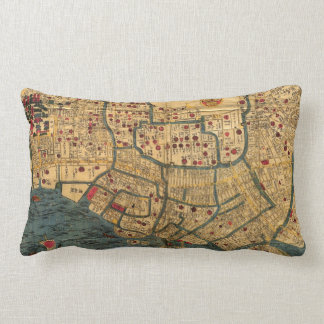 Vintage Japanese labelled map of Tokyo Lumbar Cushion