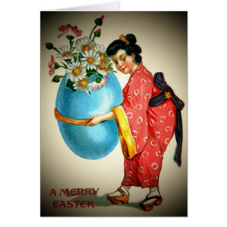 Vintage Japanese Lady and Easter Egg Card
