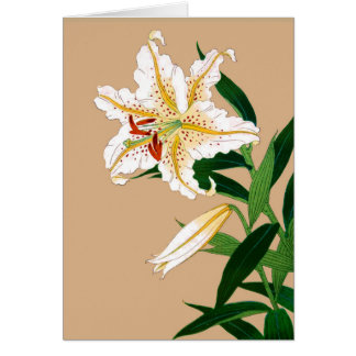 Vintage Japanese Liliy. White, Green and Beige Card
