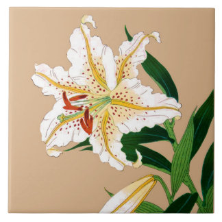 Vintage Japanese Liliy. White, Green and Beige Ceramic Tile
