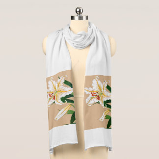 Vintage Japanese Liliy. White, Green and Beige Scarf Wraps