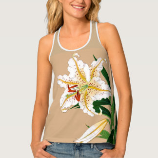 Vintage Japanese Liliy. White, Green and Beige Singlet