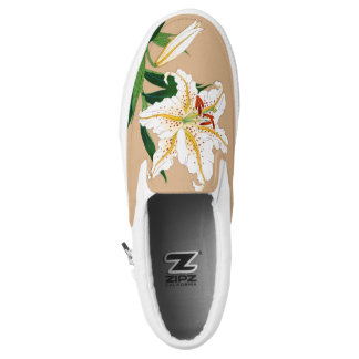 Vintage Japanese Lilly. White, Green and Beige Slip On Shoes