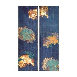 Vintage Japanese Lion Pattern Canvas Print