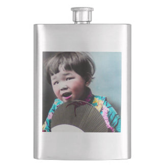 Vintage Japanese Little Girl and Paper Fan Japan Hip Flask