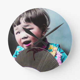 Vintage Japanese Little Girl and Paper Fan Japan Round Clock