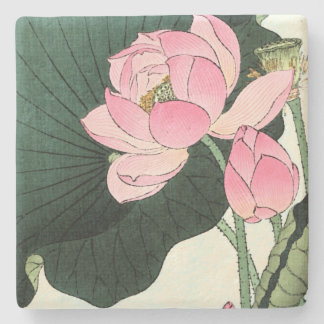 Vintage Japanese Lotus Flower Limestone Coaster