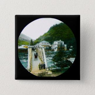 Vintage Japanese Morning Crossing Bridge Old Japan 15 Cm Square Badge