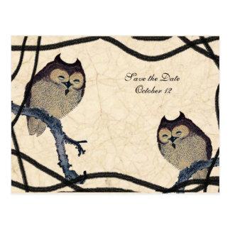 Vintage Japanese Owl Save the Date Postcard
