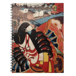 Vintage Japanese Painting - Kabuki Actor Spiral Note Book