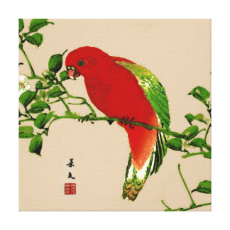 Vintage Japanese Painting of a Parrot, Red & Green Canvas Print