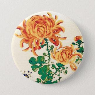 Vintage Japanese Painting of Chrysanthemums 7.5 Cm Round Badge