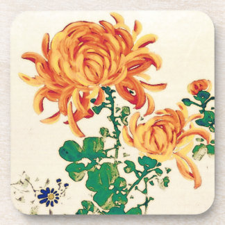 Vintage Japanese Painting of Chrysanthemums Coaster