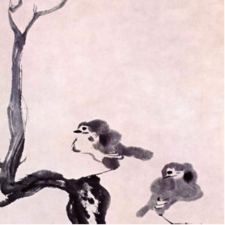 Vintage Japanese Painting of Two Birds on Snow Standing Photo Sculpture