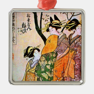 Vintage Japanese Painting of Women Talking Christmas Tree Ornament