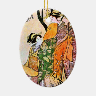 Vintage Japanese Painting Of Women Talking Christmas Ornament
