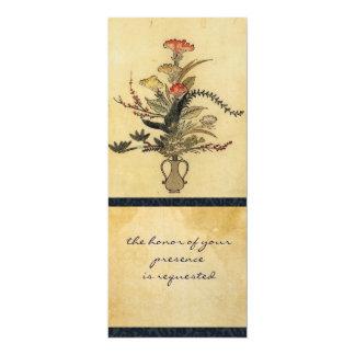 Vintage Japanese Parchment Tall Wedding Invitation