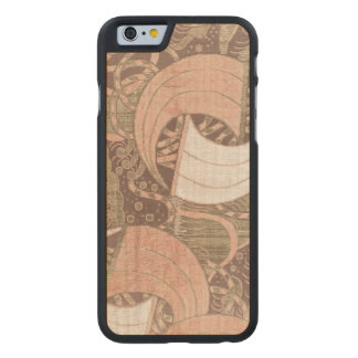 Vintage Japanese Pink Gold Metallic Textile Art Carved Maple iPhone 6 Case