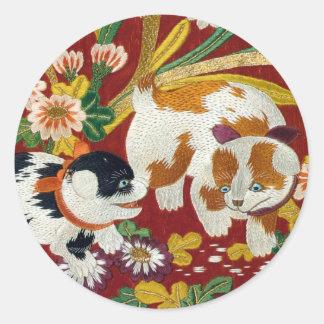 Vintage Japanese Puppy and Flower Classic Round Sticker