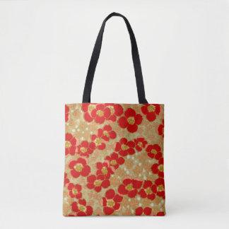 Vintage Japanese Red Gold Floral All Over Print Tote Bag
