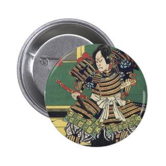 Vintage Japanese samurai Warrior 6 Cm Round Badge