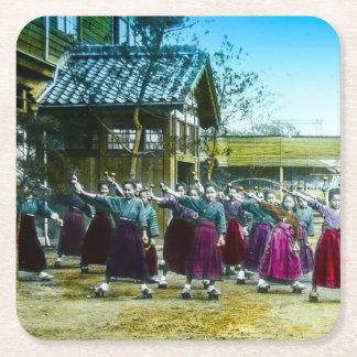 Vintage Japanese School Girls Exercising Japan Square Paper Coaster