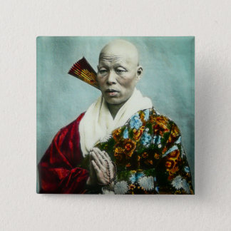 Vintage Japanese Shinto Priest Praying Old Japan 15 Cm Square Badge