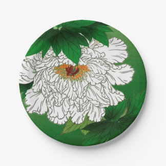 Vintage Japanese Sketch of Large White Peony Paper Plate