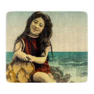 Vintage Japanese Swimsuit Bathing Beach Beauty Cutting Board