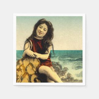 Vintage Japanese Swimsuit Bathing Beach Beauty Disposable Napkin