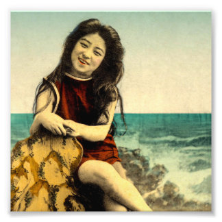 Vintage Japanese Swimsuit Bathing Beach Beauty Photo Art