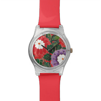 Vintage Japanese Textile - Red Dahlias Watch