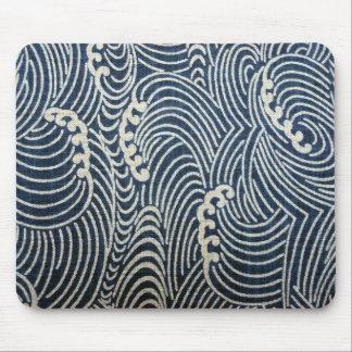 Vintage Japanese Textile, Wave Pattern Mouse Pad