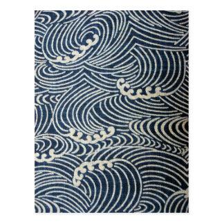 Vintage Japanese Textile, Wave Pattern Postcard