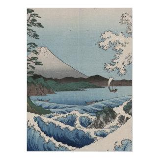 Vintage Japanese The Sea of Satta 14 Cm X 19 Cm Invitation Card