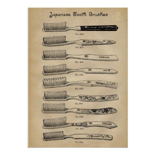 Vintage Japanese toothbrushes chart
