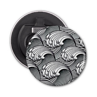 Vintage Japanese Waves, Black and White Bottle Opener