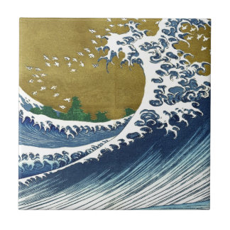 Vintage Japanese Waves Ceramic Tile
