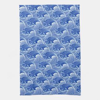 Vintage Japanese Waves, Cobalt Blue and White Tea Towel